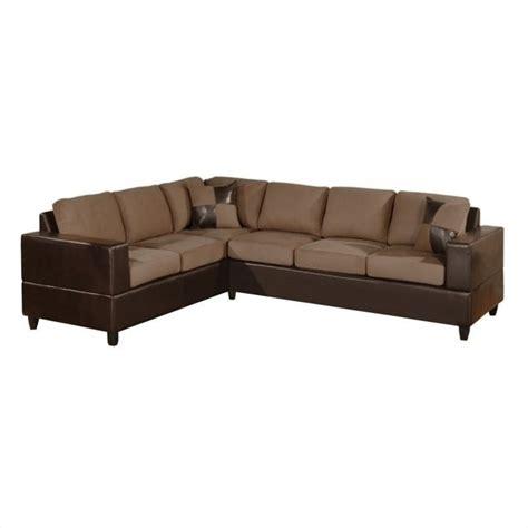 poundex bobkona 2 piece microfiber sectional sofa in