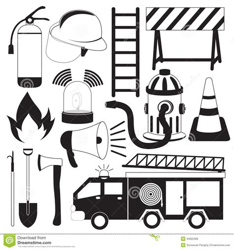 14569 firefighter equipment clipart black and white firefighter equipment clipart black and white