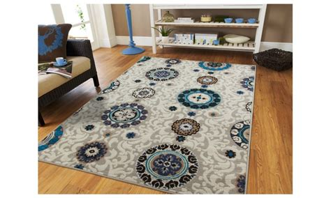 Contemporary Beige Floral 5x7 Rugs Blue Medallion 5x8