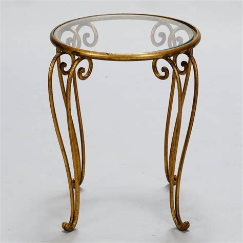 Buy Small Side Tables For Sale by Midcentury Small Glass Top Iron Side Table For Sale