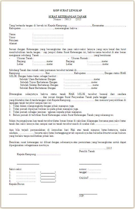 contoh surat keterangan tanah skt
