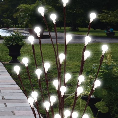 2 x 60cm garden led twig lights solar tree lights decor