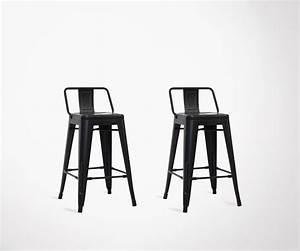 Chaise Bar Industriel : lot de 2 chaises de bar original en m tal noir 61cm style ~ Farleysfitness.com Idées de Décoration