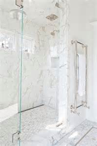 marble bathroom tile ideas exquisite master shower is clad in white marble subway tiles fitted with small side by side