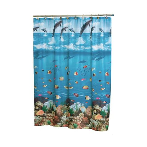 fish shower curtain shop carnation home fashions seascape polyester blue fish