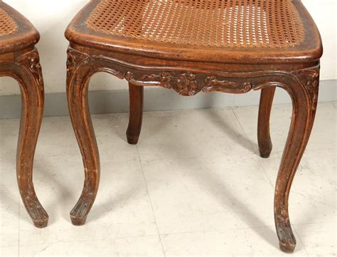 chaises louis xv louis xv carved walnut chairs pair caned acanthus flowers