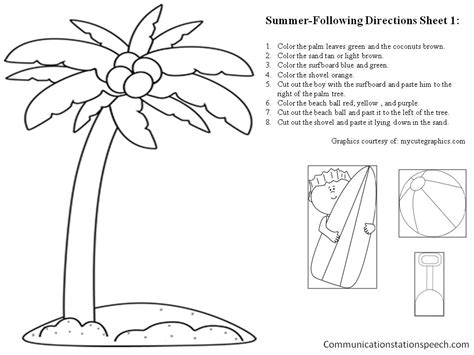 Summer Directions Coloring Sheet 1