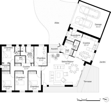 plan maison 4 chambres plain pied plan de maison plain pied 4 chambres en v