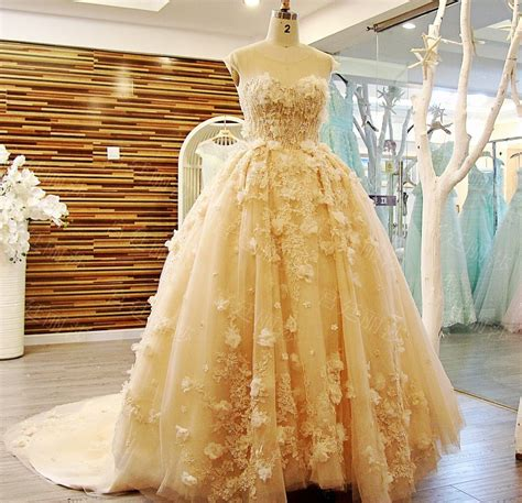 ball gown heavy lace appliques beads light yellow
