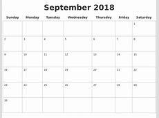 September 2018 Blank Calendar Pages