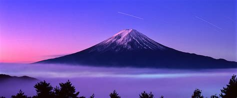 night views  mount fuji  japan background japan