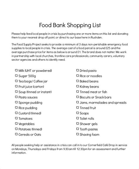food shopping list templates  samples examples