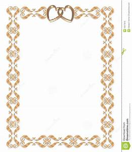 wedding invitation border gold hearts stock illustration With golden wedding invitation borders free download