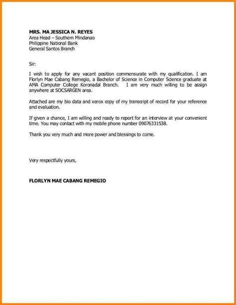 sle application letter for any position