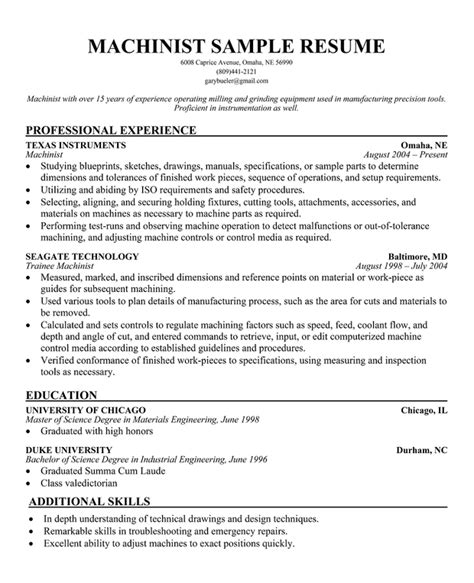 Machinist Resume Summary by Cover Letter Instrumentation