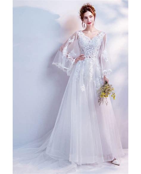 princess long train lace beach wedding dress