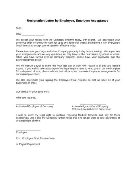Employee Resignation Letter Acceptance - Sample Resignation Letter