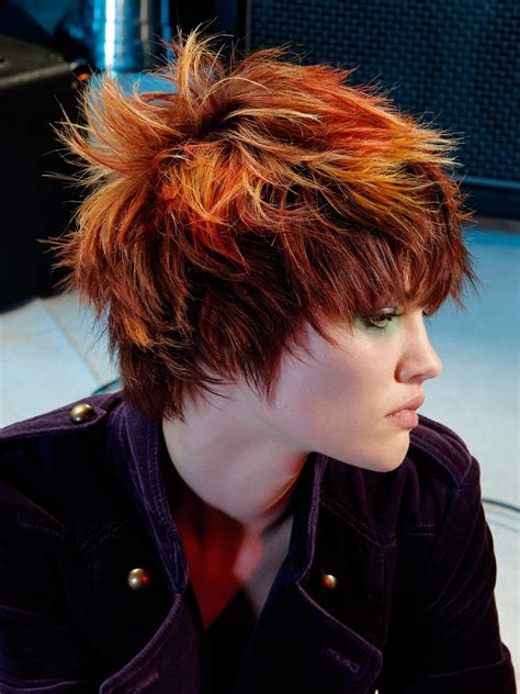 ruffled  fringy punk hairstyle  spiky texture