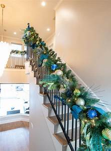 Custom, Christmas, Garland, Decor, Green, U0026, Blue, Garland, For, Stairs, With, Images