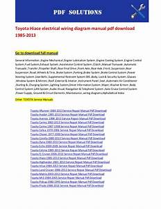 Toyota Hiace Electrical Wiring Diagram Manual Pdf Download