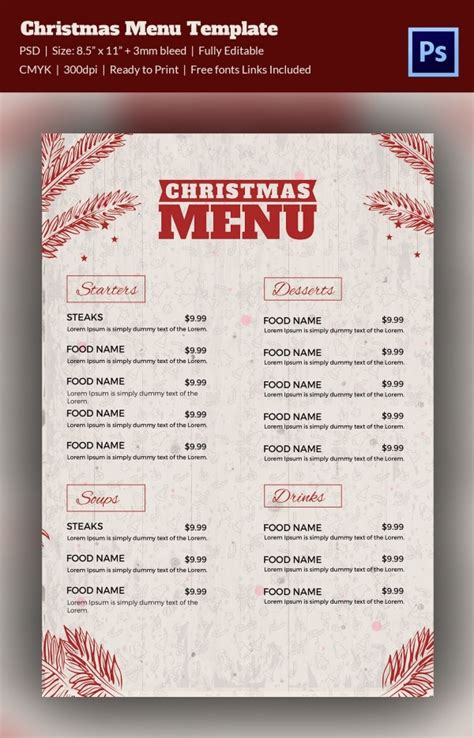 christmas menu template   psd eps ai