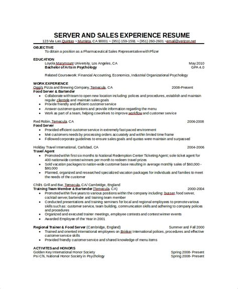 Resume With Server Experience by Sle Server Resume 7 Exles In Word Pdf