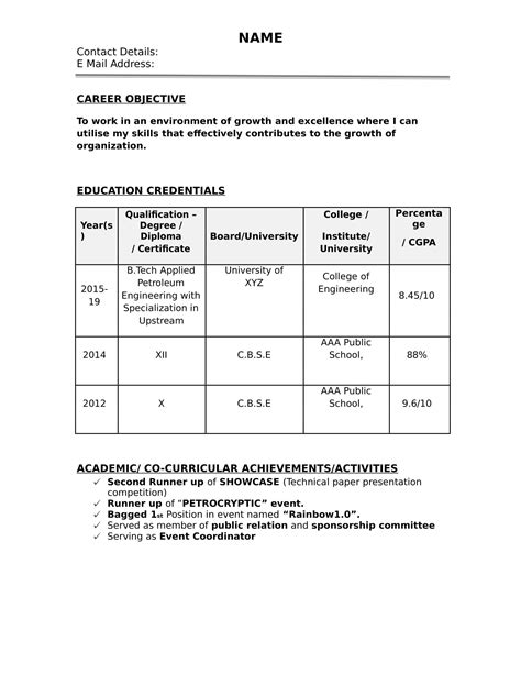 Resume Formate by 32 Resume Templates For Freshers Free Word Format