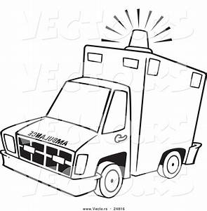 vector of a cartoon ambulance with lit siren light With emergency light