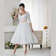 Elegant Plus Size Wedding Dresses A line Tea Length Lace ...