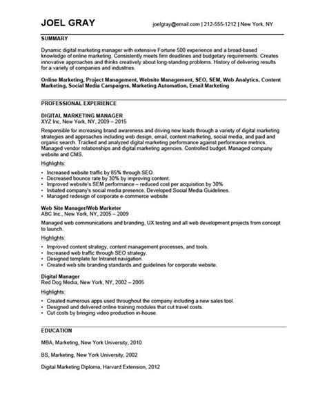 interesting marketing manager resume with list of