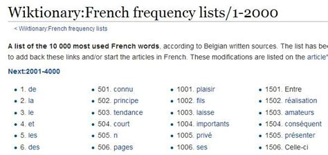 2000 Most Common French Words   Common french words ...