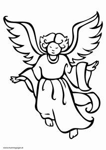 Christmas angel flying Colouring Page | MummyPages ...