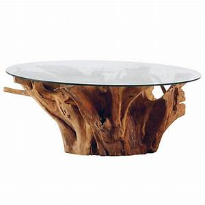 Table Basse En Verre Ronde : table basse ronde racine de teck et plateau en verre roots casita ~ Teatrodelosmanantiales.com Idées de Décoration