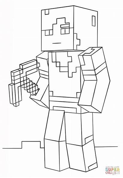 Ausmalbilder Minecraft Alex Coloring Ausmalbild