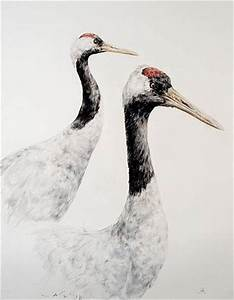 Red-crowned cranes - Painting Art by David Lowther