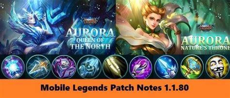 New Hero Aurora, Patch Notes 1.1.80 2019