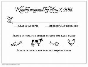 reply card with food choice i want to find a response With wedding rsvp menu choice template