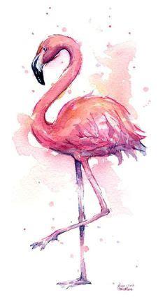 pink flamingo watercolor painting flamingo art print