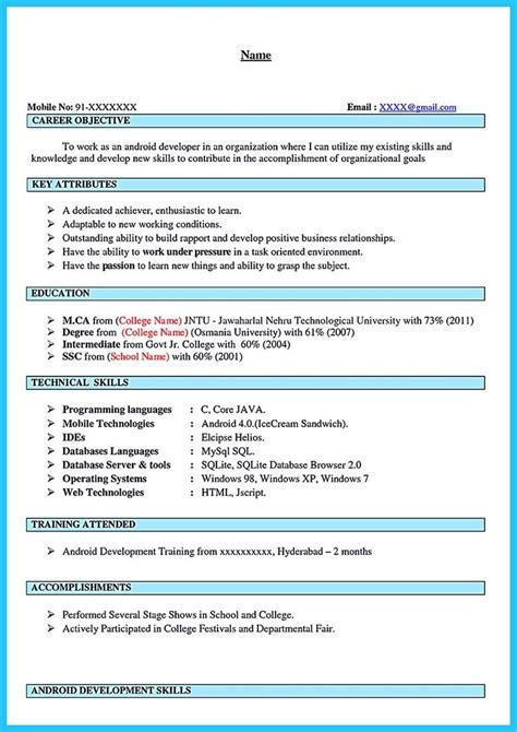 Android Developer Resume Template by 1000 Images About Resume Sles On Best Graphic Designer Resume And