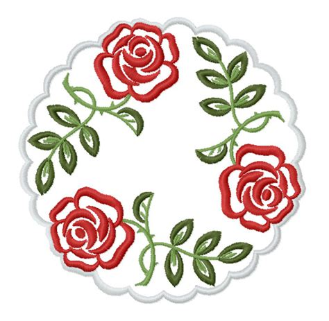 embroidery machine designs in hoop roses doilies