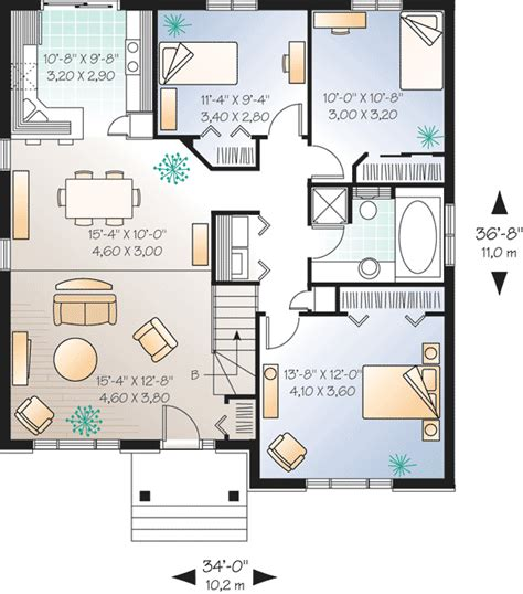 simple starter home plan with options 21250dr