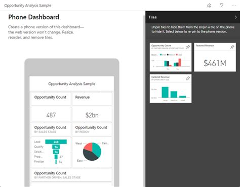 create a phone dashboards in the power bi mobile apps microsoft power bi