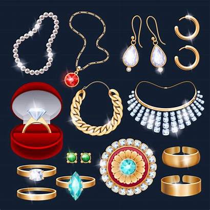 Jewelry Vector Realistic Necklace Icons Accessories Different