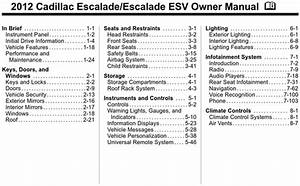 Cadillac 2012 Escalade Operators Owners User Guide Manual
