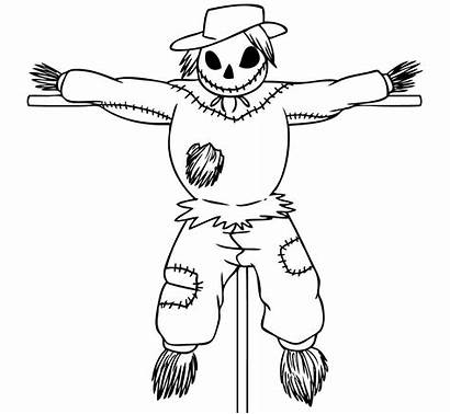 Scarecrow Coloring Draw Pages Scary Drawing Step
