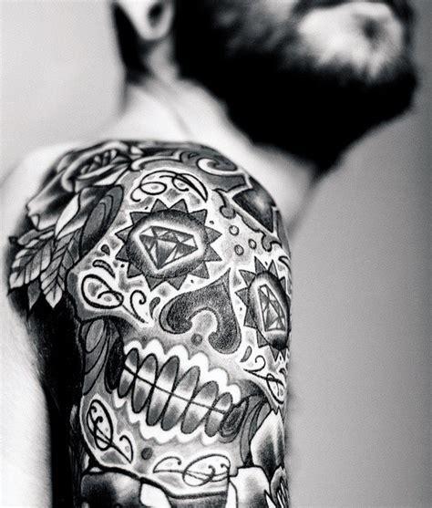 sugar skull tattoo designs  men cool calavera ink