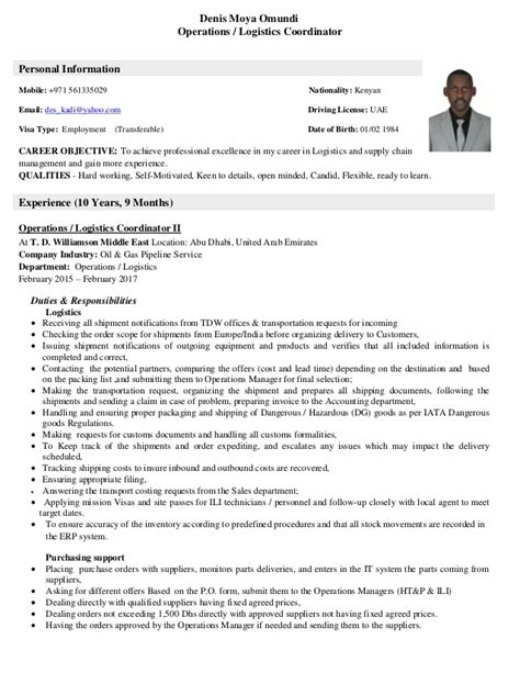 Logistics Coordinator Resume by Cv Operations Logistics Coordinator 27 01 2017 Pdf