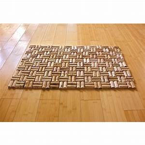 upcycled wine cork bath mat with weave pattern With bathroom cork mat