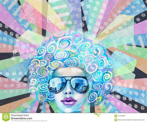 disco club girl  sunglasses pop art design party