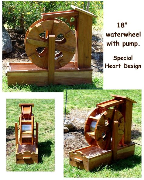 contained water wheel fountains  bobs bridges